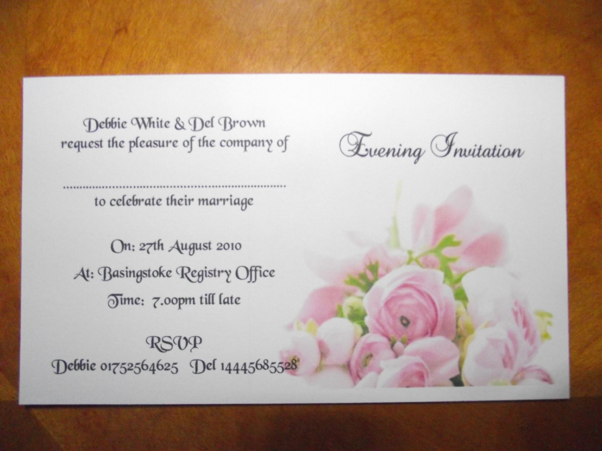 Wedding invitations Day or Evening Personalised Pink Rose Postcard Style